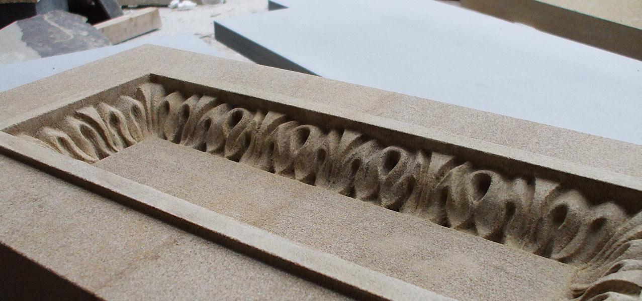 Peakmoore Sandstone Balustrade Panels In Progress Melbourne University Australia stonework scanning reproduction